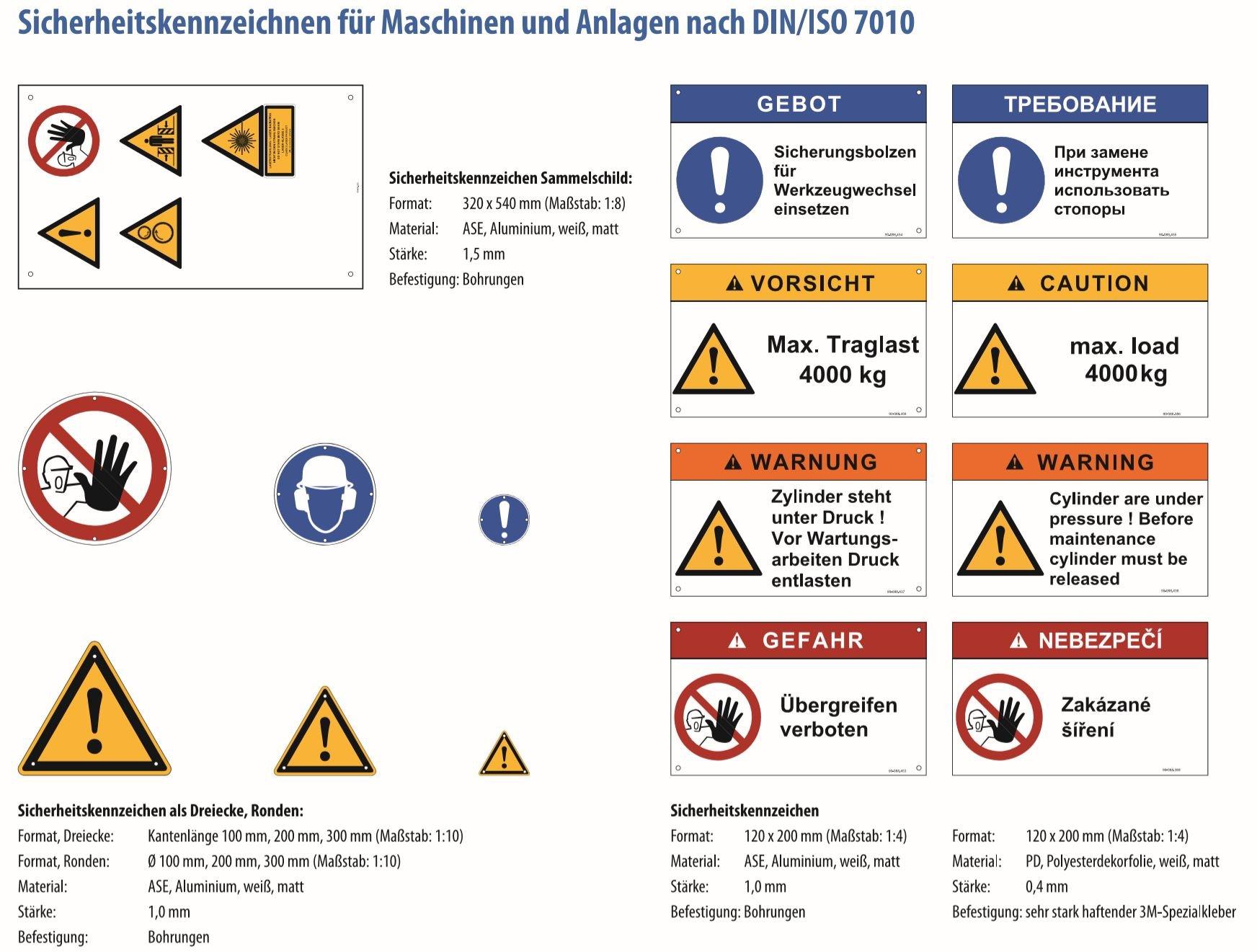 Sicherheitskennzeichen für Maschinen und Anlagen nach DINISO 7010